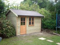 12 x 8 Workroom with felt tile roof, and a garden office door & window.