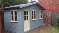 14 x 10 Leisure Room with garden office windows. Painted with Protek Cream and Pale Sage wood protector.