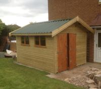 10 x 16 Workroom with a Green Metal Profile Roof