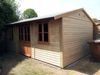 Garden Workroom / Leisure Room with single glazed traditional office windows and double doors